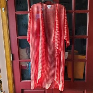 LuLaRoe Red and Pink Check Print Shirley